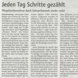 Bericht über domino-world im Oranienburger Generalanzeiger vom 10.01.2019